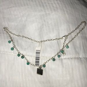 Stirling Silver and Aqua Necklace